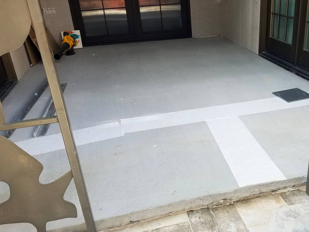 This is a picture of Flex-Guard installed over a slab crack on a patio