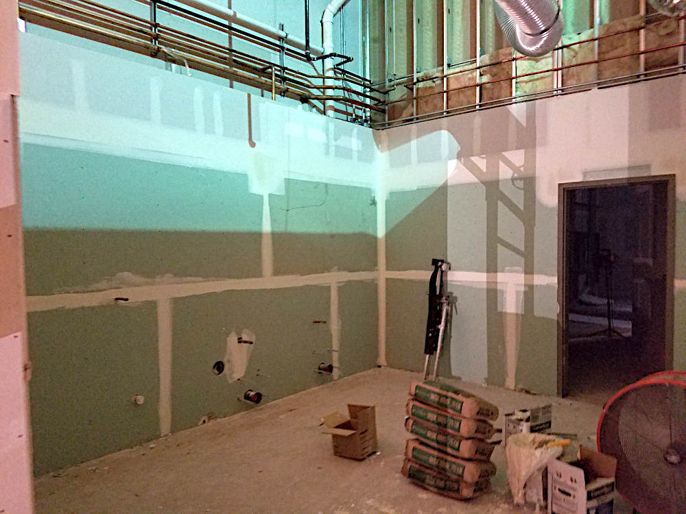 This is a picture of a newly built locker room at a gym