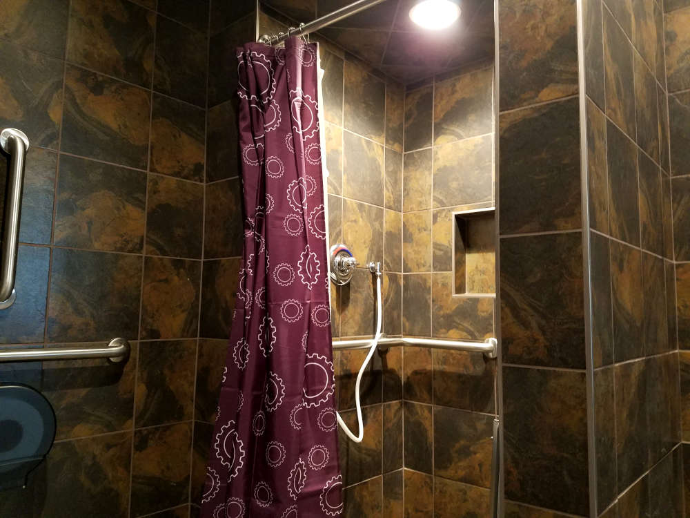 This is a picture of ceramic tile installed in an ADA Shower