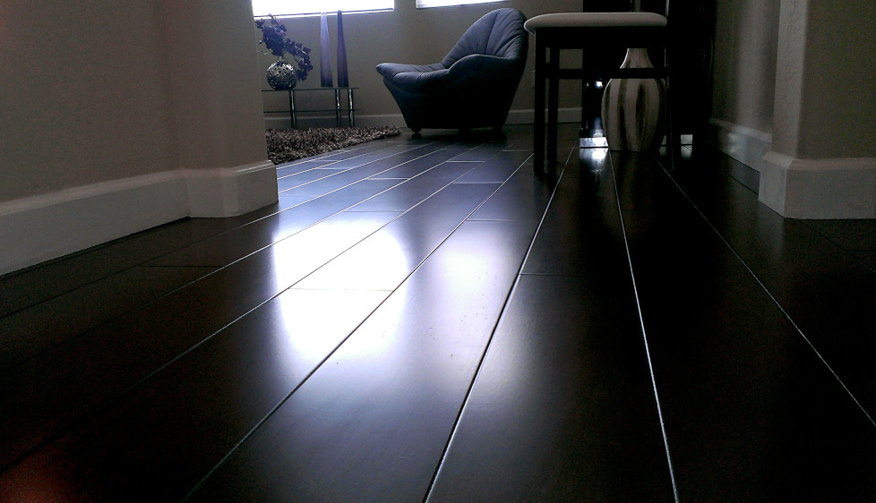 This is a picture of a dark walnut colored Award Hardwood floor installation in Phoenix, Arizona