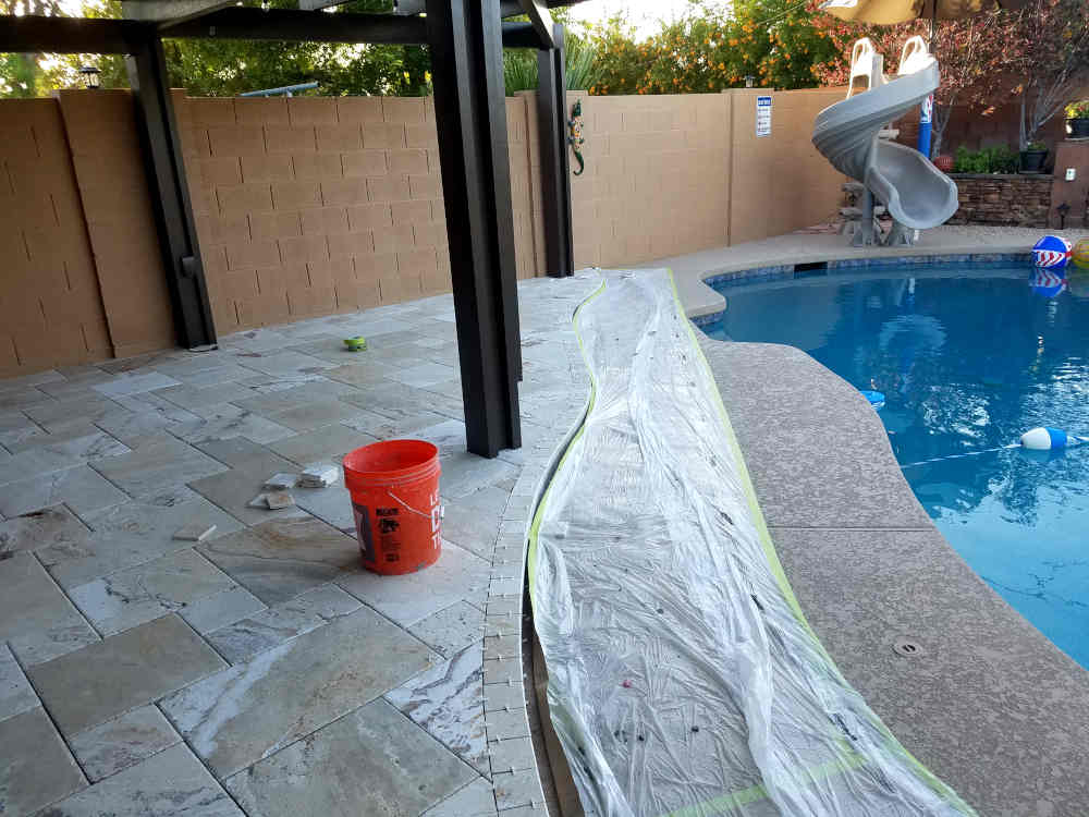 This is a picture of a curved step with Bullnose Travertine installed on it
