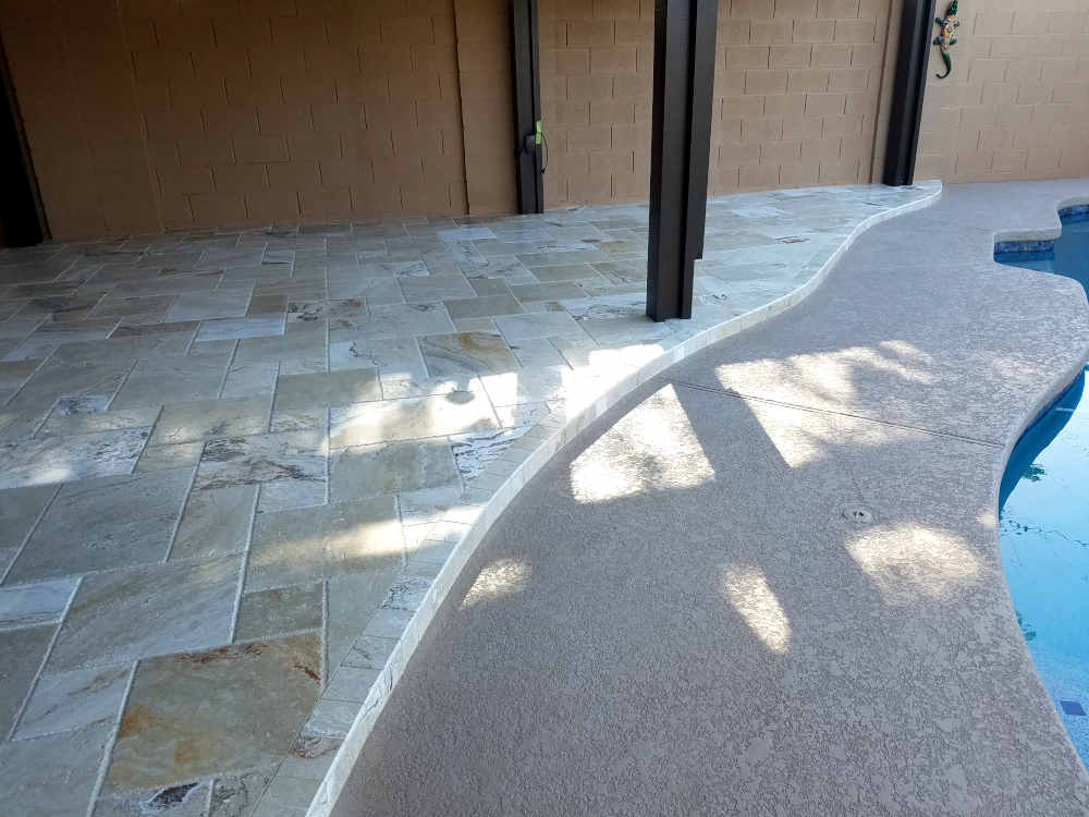 This is a picture of a Travertine Bullnose step on a back patio in Phoenix